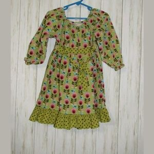 4T Beary Basics Cord Ribbed Green Floral Dress